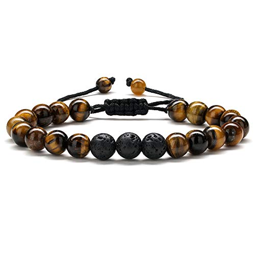 M MOOHAM Lava Rock Bracelet Mens Gifts - Natural Tiger Eye Black Lava Rock Stone Mens Anxiety Bracelets, Adjustable Aromatherapy Essential Oil Diffuser Healing Bracelet Gifts for Men Boyfriend Gifts