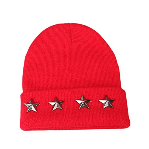 Dreamyth 2 7 Years Old Fashion Baby Children Autumn And Winter Star Cap Warm Winter Hats Knitted Wool Hemming  Red