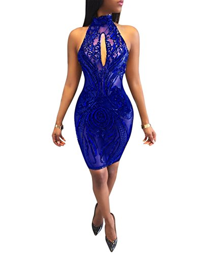 IyMoo Women Sexy Backless Halter Sequins See Through Dress Floral Mesh Sheer Bodycon Clubwear Party Dress Blue X-Large