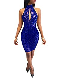 Womens Sexy Halter Backless Sequins Floral Bodycon Clubwear Party Bodysuit Dress