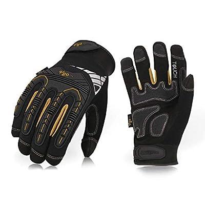 Vgo High Dexterity Heavy Duty Mechanic Glove,Rigger Glove(Anti-vibration,Anti-abrasion,Touchscreen,1Pair, Size XXL, Black, SL8849)
