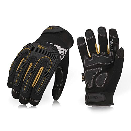 Vgo High Dexterity Heavy Duty Mechanic Glove,Rigger Glove(Anti-vibration,Anti-abrasion,Touchscreen,1Pair, Size M, Black, SL8849) ()