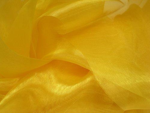(Yellow Mirror Organza Fabric 58