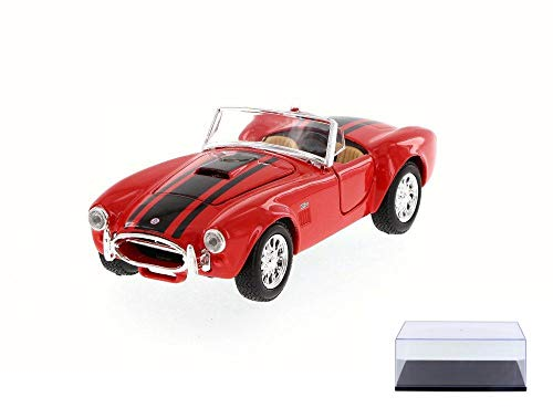 Diecast Car & Display Case Package - 1965 Shelby Cobra 427 Convertible, Red - Maisto 31276 - 1/24 Scale Diecast Model Toy Car w/Display Case
