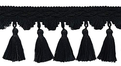 DecoPro 5 Yard Value Pack of Veranda Collection 3.5 Inch Tassel Fringe Trim - Black, Style# VTF035, Color: Black Charcoal - VNT30 (4.5M / 15 Ft) - Black Fabric Tassel