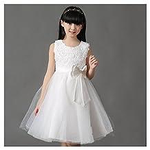 KAKA(TM) Lovely Girls One Piece Dress Flower Girl Dresses White Dress skirt Princess Skirt Tutu Skirt Party Costume Dress With Bowknot