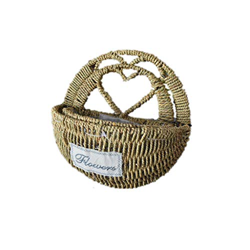 XGao Hanging Baskets Metal Wall Hanging Planter Flower Basket Demilune Shape Wicker Straw Artificial Plant Wall Mount Container with Iron Scrollwork Frame Indoor Or Outdoor for Flowers (B)