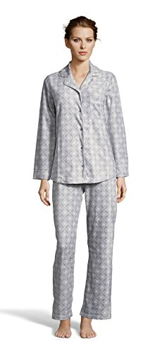 Kathy Ireland Womens Fleece Micropolar Button Down Pajama Shirt and Pants Set Stone Small