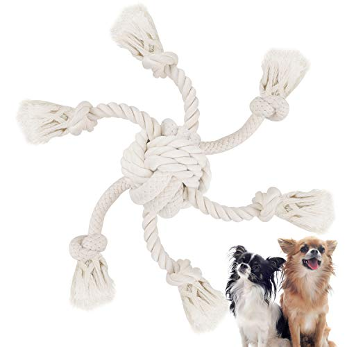 (WINGPET Rope Dog Toy for Aggressive Chewers, Interactive Dog Chew Toys - Thick Knot Rope and TUG of WAR Balls - Natural Cotton - Dog Teeth Cleaning - Tough Durable - Great for Dogs Exercise Trainning)