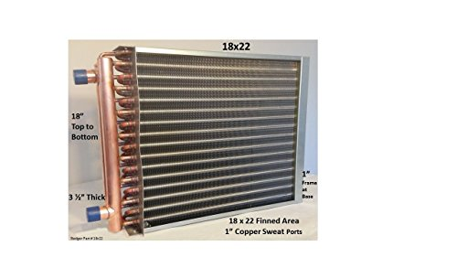 18x22 Water to Air Heat Exchanger 1' Copper Ports With Install Kit