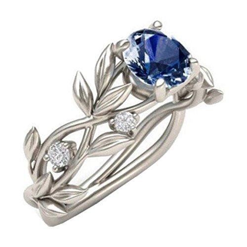 Lethez Women's Rings Ladies Floral Transparent Ring Diamond Flower Vine Leaf Engagement Wedding Rings (Dark Blue, (Dark Rainbow Rings)