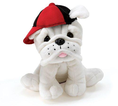 Amazon Com Plush Eugene White Bulldog With Baseball Cap Toys Games