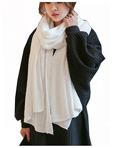 Wander Agio Womens Warm Long Shawl Winter Blanket Scarf Scarves Pure Color White (White Scarf Wool)