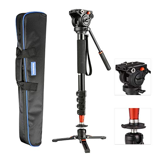 "VILTROX 73"" inch Video Camera Monopod, Professional Aluminum for DSLR/SLR Mirrorless Cameras with Removable Tripod Base, Fluid Drag Head Carrying Bag Include"
