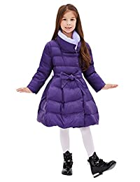 Tortor 1Bacha Kid Girls' Contrast Collar Winter Long Belted Dress Down Coat