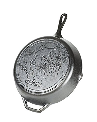 (Lodge L10SKWLBR Wildlife Series-12 Inch Seasoned Cast Iron Skillet with Bear Scene and Assist Handle, 12