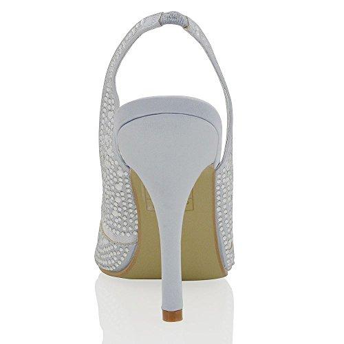 ESSEX GLAM Nuevas sandalias de punta abierta elegantes de satín con diamantes para bodas y fiestas Plata Satín