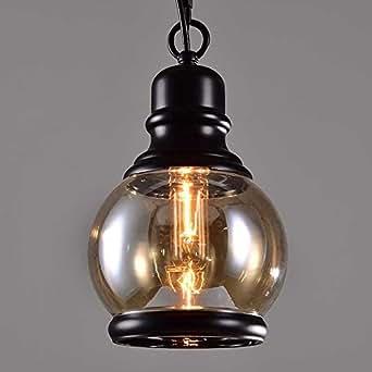 Nclon Vintage Vaso Lámpara de techo,E27 Enchufe Retro Simple Lámpara colgante Dormitorio Comedor Bar Exclud de la bombilla-15x22cm