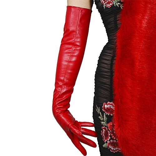 """DooWay Women Long Gloves Faux Leather Lambskin Sheepskin PU 24"""" 60cm Opera Evening Red"""