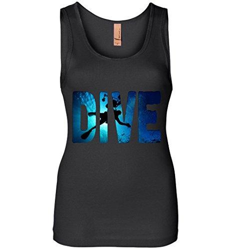 Robust Creative Scuba Diver Scuba Diving Underwater Freedive Black Womens Tank ()