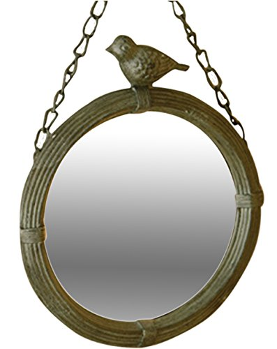 Antique Style Metal Wall Mirror with Bird Home Decor