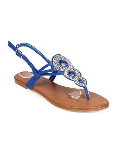 HOTSOLES EE69 Women Leatherette Medallion Rhinestones Slingback Boho Thong Sandal