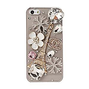 Fashionable DIY Eiffel Tower and Flowers with Rhinestone Pattern Plastic Hard Case for iPhone 5/5S Protective Case