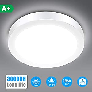 LED Ceiling Light SOLMORE 18W 1700LM IP54 Bathroom Lamp, 5000K Cold White, 120W Equivalent, Ideal for Bathroom Bedroom…
