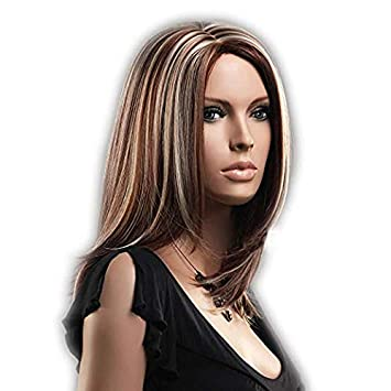 Amazon Com Gooaction Ladies Medium Length Natural Straight Brown With Blonde Highlights Wig Middle Parting Heat Resistant Synthetic Cosplay Hair Mixed Color Wigs For Women Hair Replacement Wigs Beauty