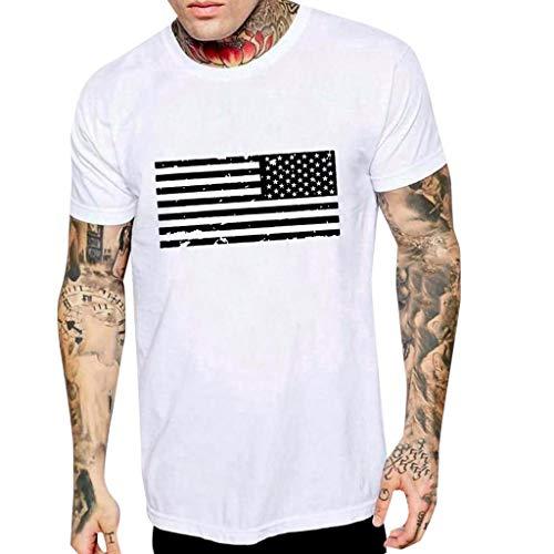WEUIE Men's Tshirts Men Novelty Graphic Tees American Flag Print Crewneck Short Sleeve Summer Top T-Shirts Blouse ()