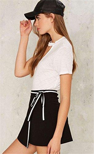 Moda con Aberturas Abertura en la Parte Delantera Choker Cuello Escote Triangular en V Manga Corta T-Shirt Camiseta Playera Tee Top Blanco