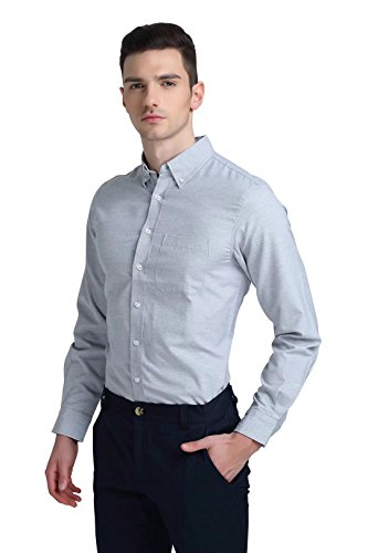 SATINATO ATOUR Men's Dress Shirts Business Casual Classic Dress Shirts Slim Fit Solid Elastic Formal Shirts Long Sleeve Button Down Shirts For Men