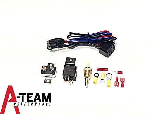 A-Team Performance New Electric Fan Relay W/ Thermostat Install Kit Hardware Kit 180° - 200° Temp Sensor Temperature Switch 40 Amp Relay Includes Detailed Instructions
