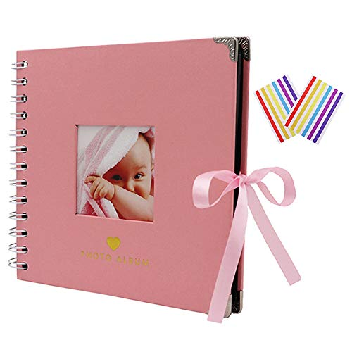 WCR Scrapbook Photo Album, DIY Memory Book Photo Book for Birthday Wedding Anniversary Gifts, Baby Scrapbook with Photo-Openning Black Pages and Photo Corners (Pink, 17.5x17.5cm)