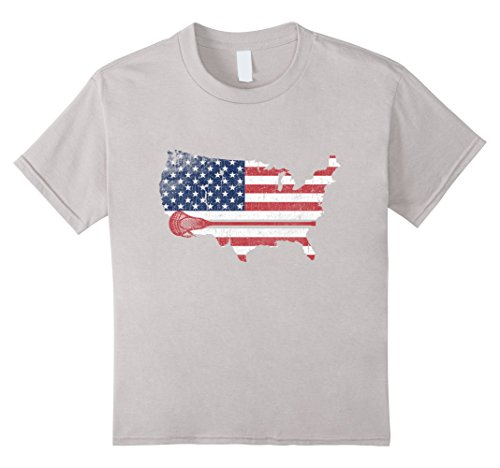Kids Lacrosse American Flag Lax Stick Love Sport T Shirt Gift Tee 10 Silver - Lacrosse Youth Tshirt