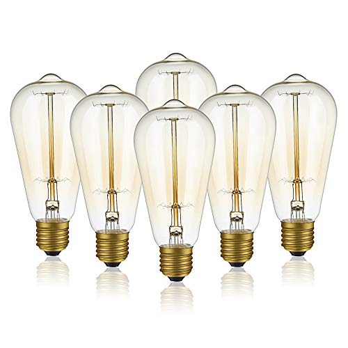 Edison Light Bulbs, 6-Pack 40w Vintage Edison Bulb, Squirrel Cage Filament Edison Bulbs, E26 Base - Amber Tinted - 110V - Dimmable - ST64 Decorative Lightbulbs ()