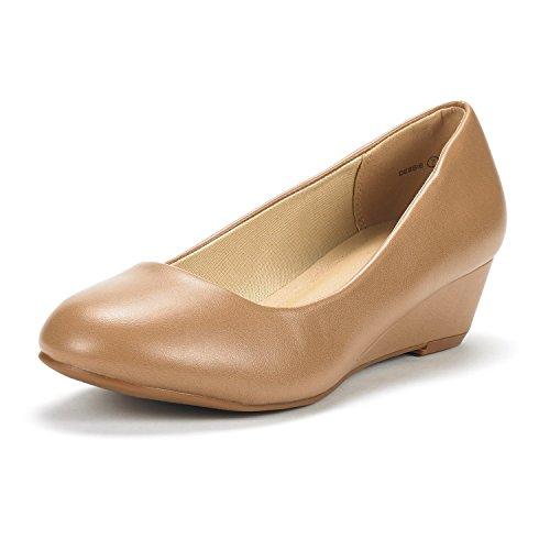 DREAM PAIRS Women's Debbie Nude PU Mid Wedge Heel Pump Shoes - 8 M (Low Wedge Casual Shoe)