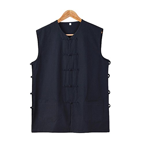 Fu Waistcoat Wing Chun Sleeveless Vest Martial Arts Tai Chi Shirt Lay Lohan Arhat Undershirt Buddhist Monks Uniform (M/170, Black) ()