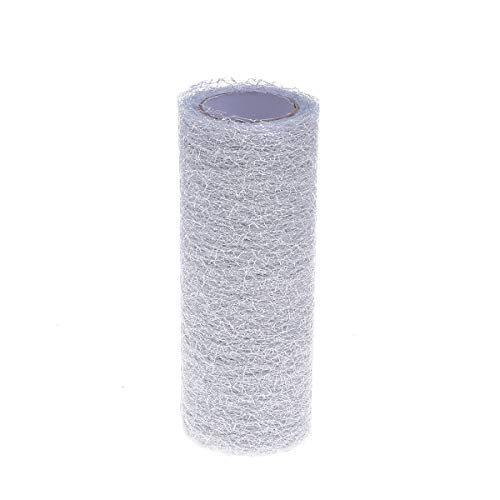 supvox 15cm 10 Yards Sparkle Tulle Rolls Netting Rolls Organza Fabric for Wedding Decoration DIY Craft Sewing Gift Wrapping (Silver) ()