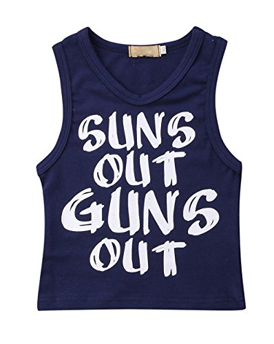 Toddler Baby Boys Sun's Out Guns Out Tank Top Sleeevless T Shirt (12-18Months, Black)