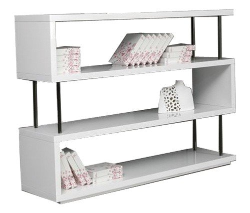 Sammy Collection (Limari Home The Sammy Collection Modern MDF Wood And Stainless Steel Metal 3 Shelf Storage Unit Contemporary Bookcase, White)