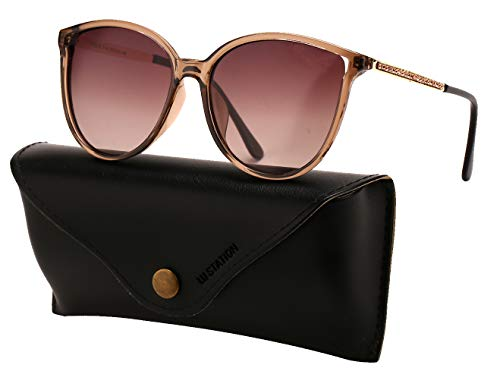 Oversized Polarized Sunglasses for Women, Cateye Plastic Frame UV400 Protection with Sunglasses Case U299 - Plastic Brown Lens