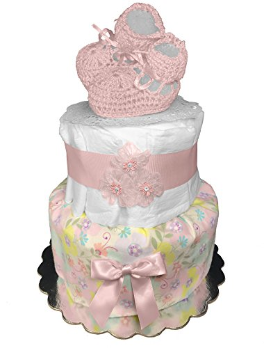 Baby Shower Gift - Diaper Cake for a Girl - Pink Booties Centerpiece