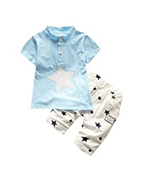 Heiner Baby Boys Kids Short Sleeve Star Cartoon Printed Tracksuit Clothes Set(6 Month-3 Year