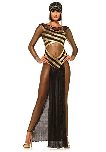 Leg Avenue Women's 3 Piece Goddess Isis Costume, Gold/Black, Small -
