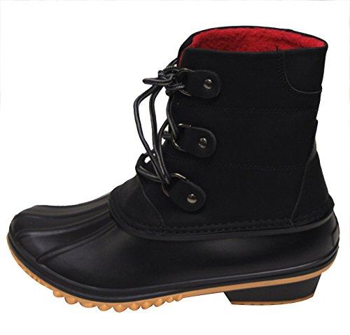 Nature Breeze Nova-02 Women's duck rubber sole lace up faux leather ankle boots Black 9