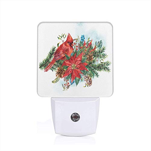 Colorful Plug in Night,Christmas Themed Bird On Festive Floral Bouquet Poinsettia Pinecones and Berries,Auto Sensor LED Dusk to Dawn Night Light Plug in Indoor for Childs Adults