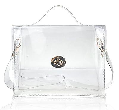 Hoxis Summer Beach Clear PVC Turn Lock Satchel Cross Body Bag DIY Decor Transparent Messenger Handbag