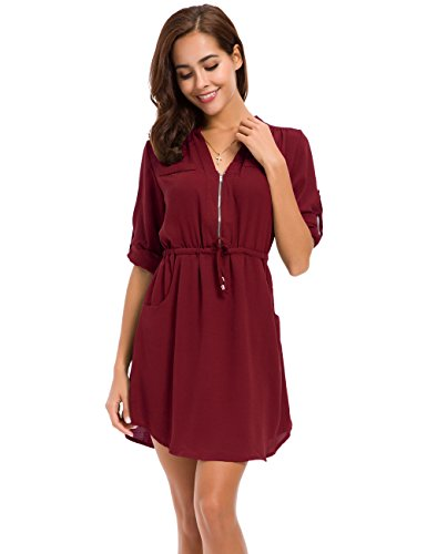 LUSMAY MOQUEEN Womens Casual Chiffon Shirt Dress Long Sleeve Drawstring Roll-up Blouses Front Zipper Pocket Wine Red