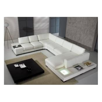 Amazoncom Modern Leather 5 Piece Sectional Sofa in White